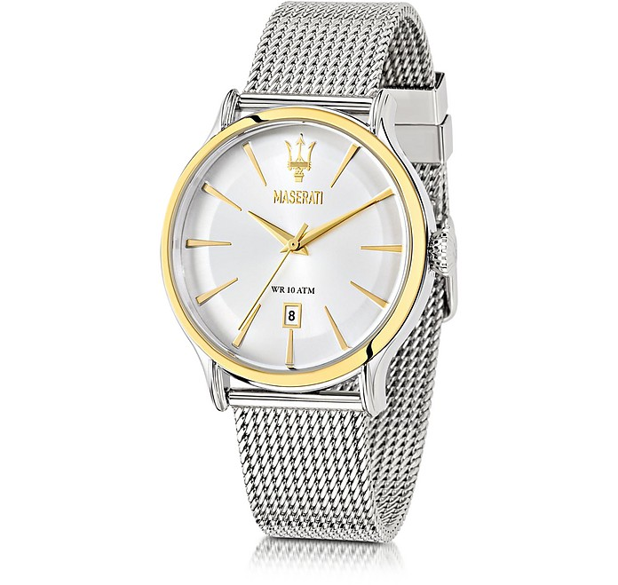 Epoca White Dial Stainless Steel Men's Watch - Maserati