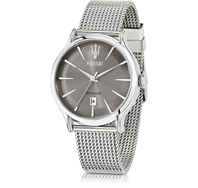 Epoca Gray Dial Stainless Steel Men's Watch - Maserati