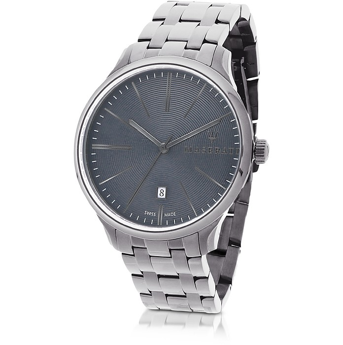 Attrazione Herren-Armbanduhr aus silberfarbenem Edelstahl - Maserati