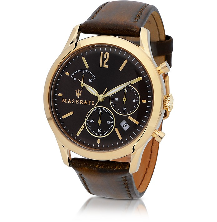 Tradizione Gold Tone Case and Brown Leather Strap Men's Chrono Watch - Maserati