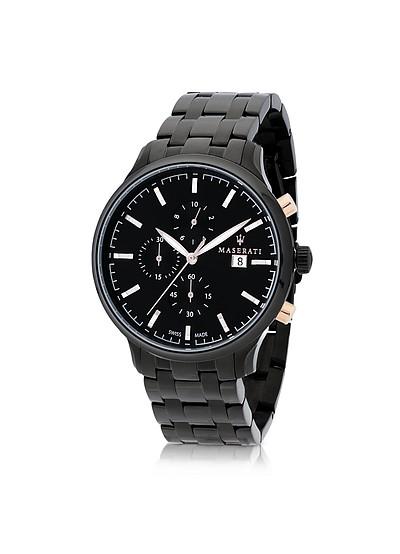 Attrazione Chrono-Uhr aus Edelstahl in schwarz - Maserati