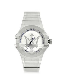 Potenza 3H Silver Dial Stainless Steel Watch - Maserati