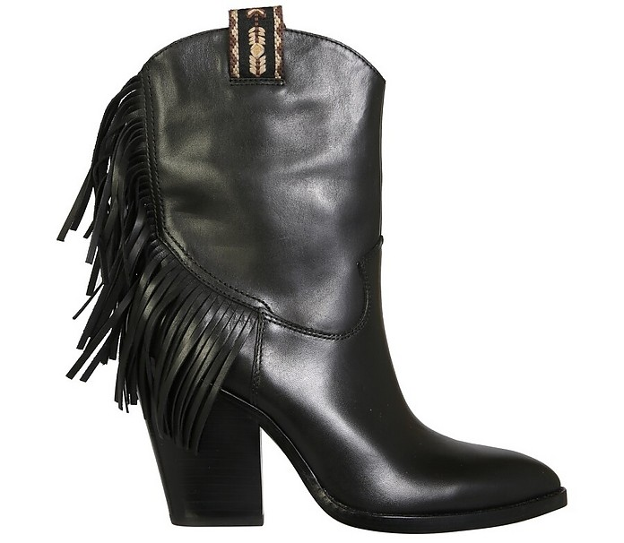 Egon Black Fringed Leather Cow Boy Boots - Ash