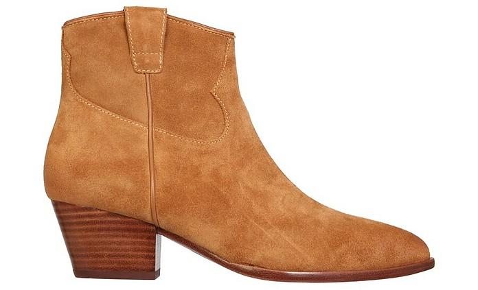 Houston Soft Cinnamon Suede Ankle Boots - Ash
