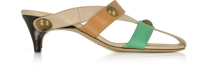 Cream Front Straps Leather Slide Shoes - Amaltea