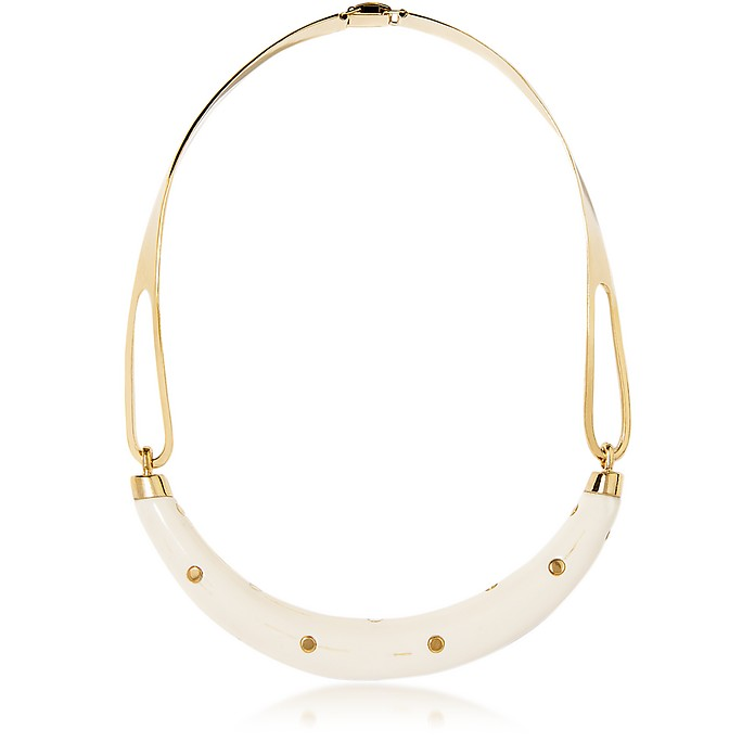 Studded Caftan Gold Plated and Resin Horn Moon Necklace - Aurelie Bidermann