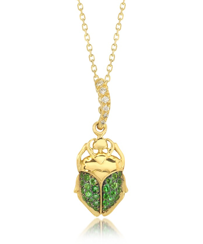 Tsavorites 18K Yellow Gold Scarab Mini Charm Pendant - Aurelie Bidermann