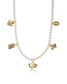 Cheyne Walk Long Necklace w/Glass Pearls and 18K Gold-Plated Charms  - Aurelie Bidermann