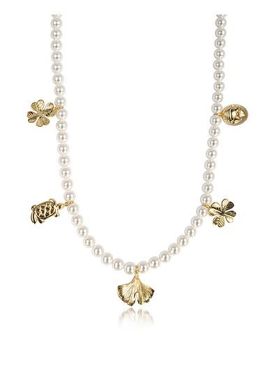Collar con Perlas de Vidrio y 18K Charms Chapados Oro - Aurelie Bidermann