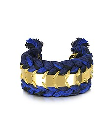 Copacabana Navy and Black Cotton Double Bracelet - Aurelie Bidermann
