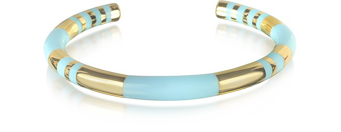 18K gold-plated & Sky Blue Enamel Resin Positano Striped Bangle - Aurelie Bidermann
