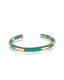 18K gold-plated & Emerald Green Enamel Resin Positano Striped Bangle - Aurelie Bidermann