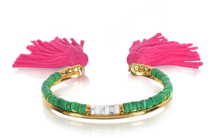 18K Gold-plated & Green Jaspe and White Bamboo Beads Sioux Bracelet w/Pink Cotton Tassels - Aurelie Bidermann