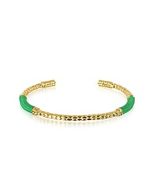 Soho Serpent 18K Gold-Plated Bangle w/Emerald Thread - Aurelie Bidermann