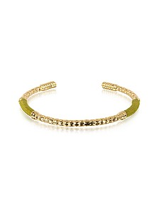 Soho Serpent 18K Gold-Plated Bangle w/Khaki Thread - Aurelie Bidermann