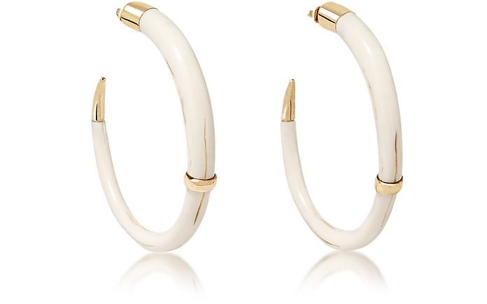 Caftan Moon Gold Plated and Resin Horn Hoop Earrings - Aurelie Bidermann