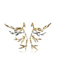 18K gold-plated Brass Mimosa Articulated Earrings - Aurelie Bidermann