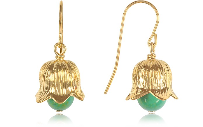 18K gold-plated Lily of the Valley Earrings w/Turquoise - Aurelie Bidermann