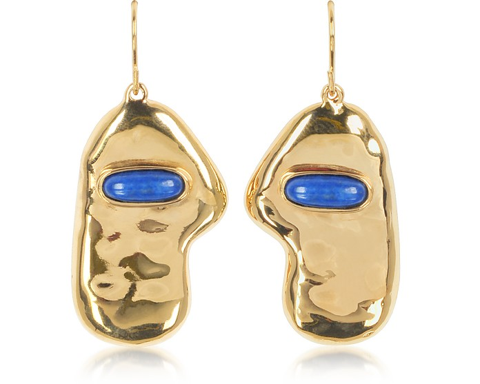 PEGGY 18K GOLD-PLATED EARRINGS W/LAPIS LAZULI STONE