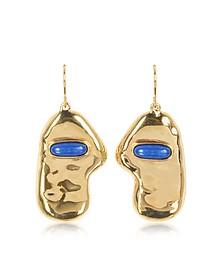 Peggy 18K Gold-Plated Earrings w/Lapis Lazuli Stone - Aurelie Bidermann