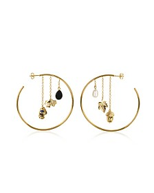 Barbizon 18K Gold-Palted Hoop Earrings w/Pearls - Aurelie Bidermann