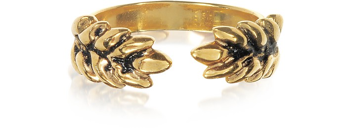 18K Gold-Plated Two Cobs Wheat Ring - Aurelie Bidermann