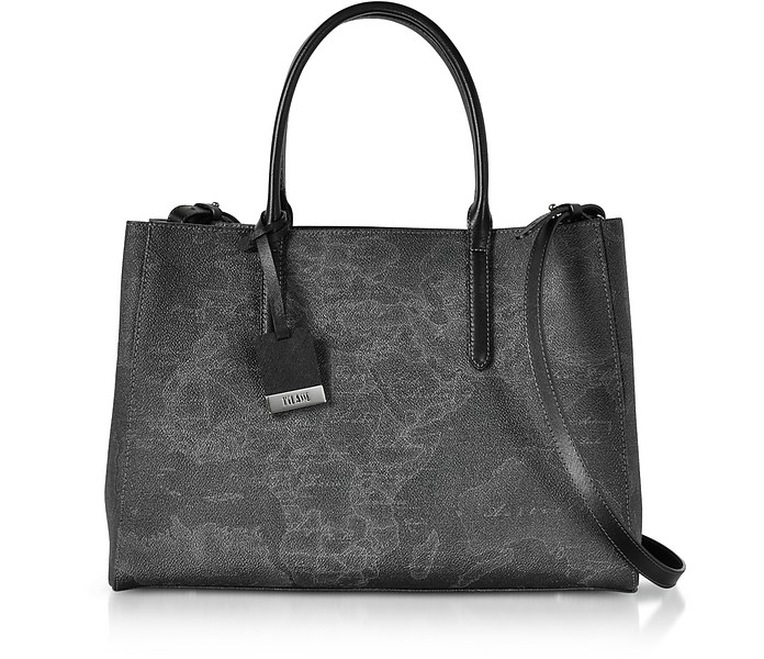 Medium Geo Black Coated Canvas Tote - Alviero Martini 1A Classe