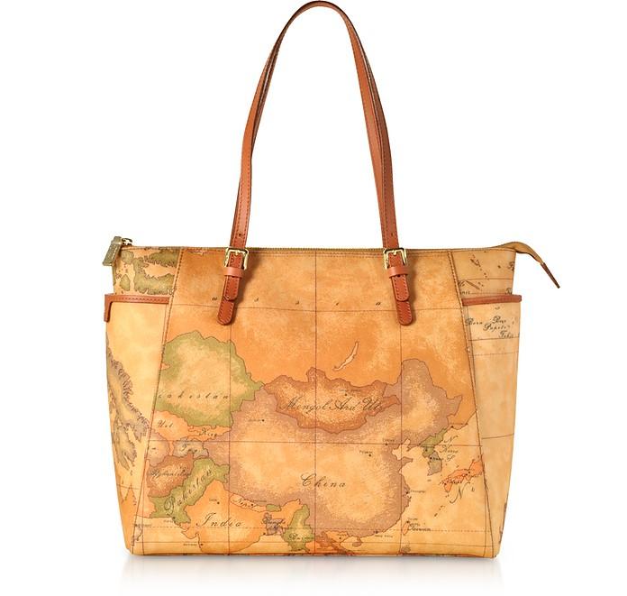 Geo Classic Coated Canvas Tote Bag w/Buckles - Alviero Martini