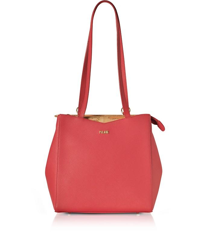 Mexico City Red Saffiano Leather Convertible Backpack - Alviero Martini