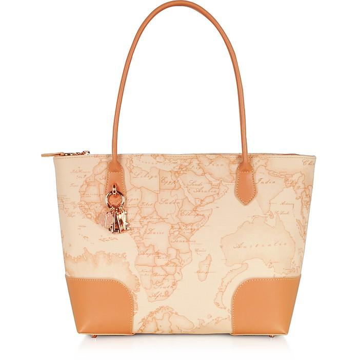 Geo Pesca Coated Canvas & Leather Shopping Bag - Alviero Martini