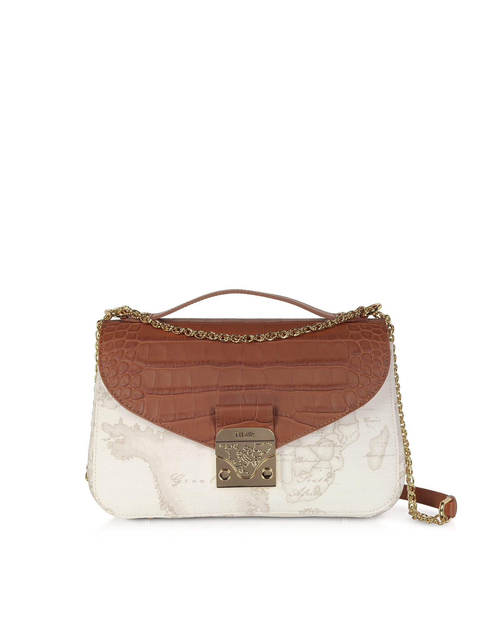 Alviero Martini 1a Classe Jolie White Coated Canvas & Embossed Croco Leather Shoulder Bag
