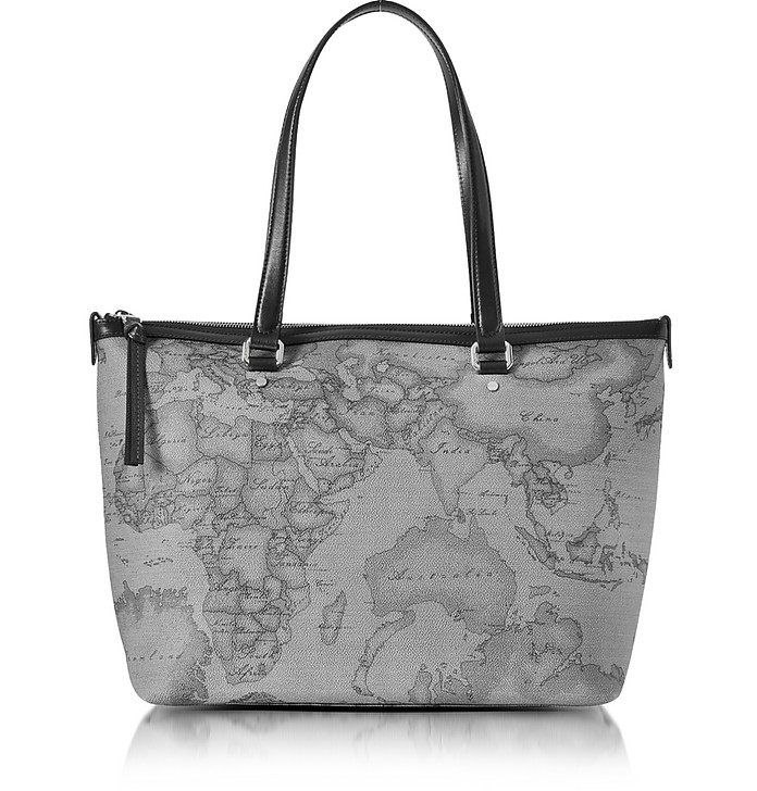 Geo Dark Canvas and Leather Medium Tote Bag - Alviero Martini 1A Classe