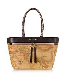 Vanity Dark Brown Leather Tote Bag - Alviero Martini 1A Classe