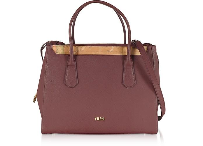 Burgundy Saffiano Leather Tote Bag w/ Geo Print Details - Alviero Martini 1A Classe