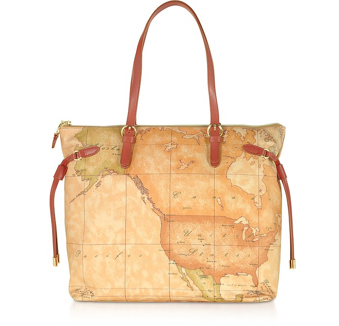 Soft Geo Classic and Leather Tote Bag - Alviero Martini 1A Classe