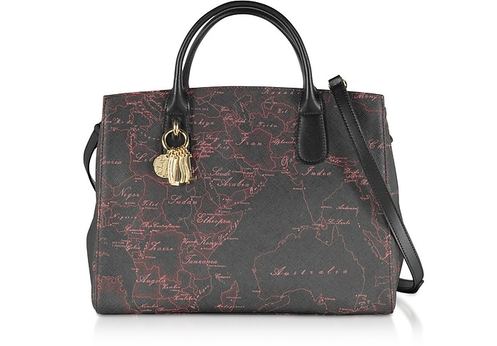 Black & Red Geo Canvas Satchel Bag - Alviero Martini 1A Classe