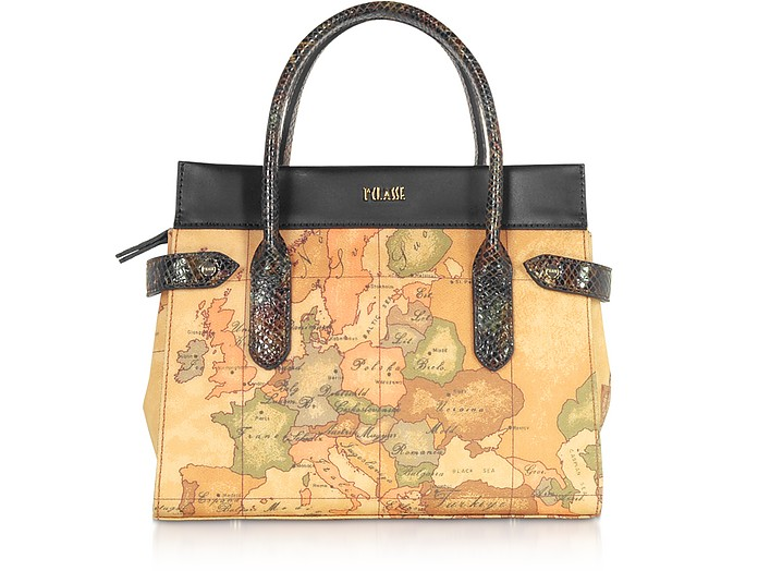 Geo Canvas Handle Bag w/ Black Details - Alviero Martini