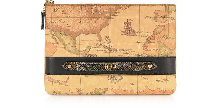 Geo Canvas Clutch w/ Black Details - Alviero Martini