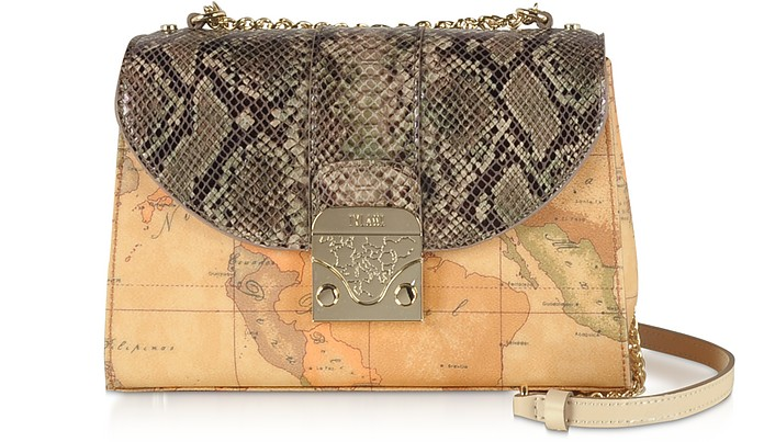 Geo Canvas Crossbody bag w/ Animal Printed Flap - Alviero Martini 1A Classe