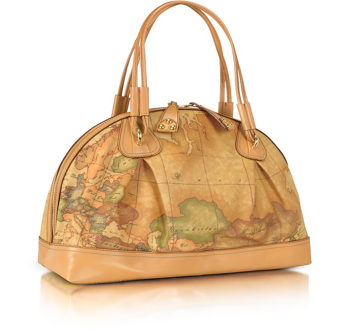 Geo Africa - Large Geo-Print Printed Leather Satchel Bag - Alviero Martini 1A Classe
