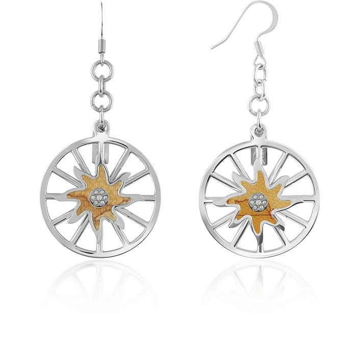 1a Prima Classe - Wheel and Geo Sun Drop Earrings - Alviero Martini 1A Classe