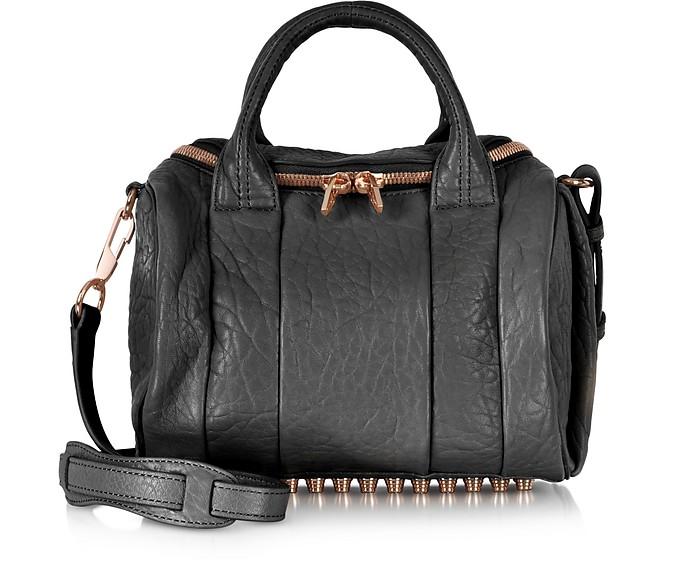 Rockie Black Pebbled Leather Satchel w/Rose Gold Studs - Alexander Wang
