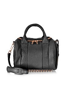 Rockie Black Pebbled Leather Satchel w/Rose Gold Studs - Alexander Wang
