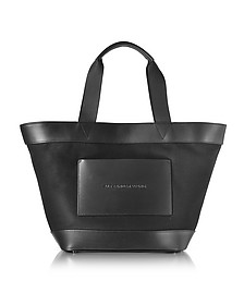 Black Canvas Tote Bag w/Leather Pocket - Alexander Wang