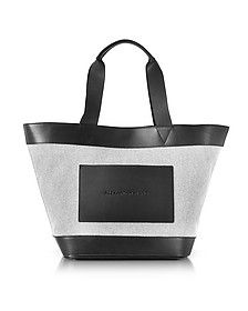 Black and White Canvas Tote Bag w/Leather Pocket - Alexander Wang