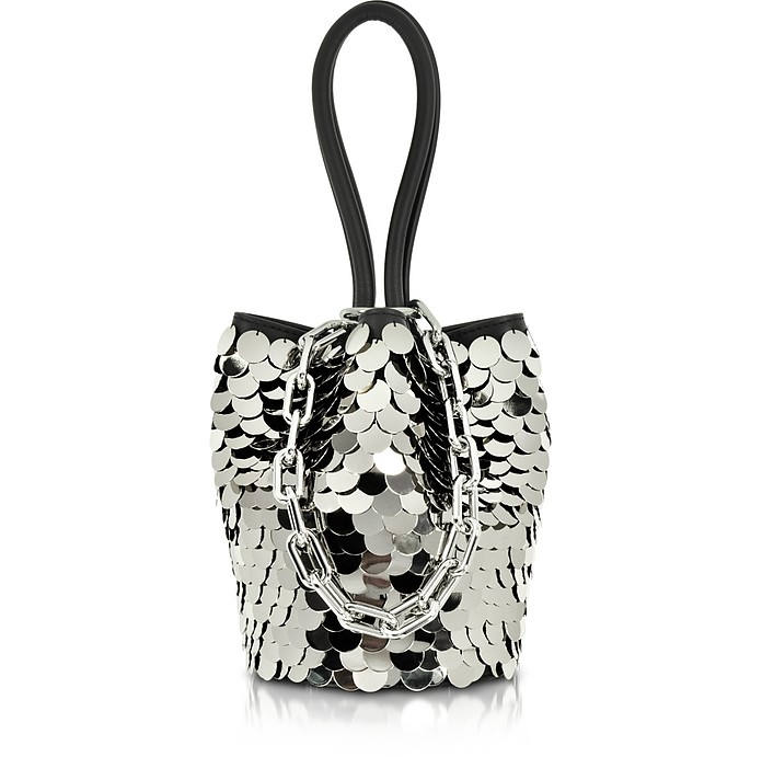 Roxy Mini Black Smooth Leather Bucket Bag w/Shiny Paillettes - Alexander Wang