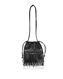 Ryan Mini Black Smooth Leather Dust Bag w/Bugle Beads - Alexander Wang