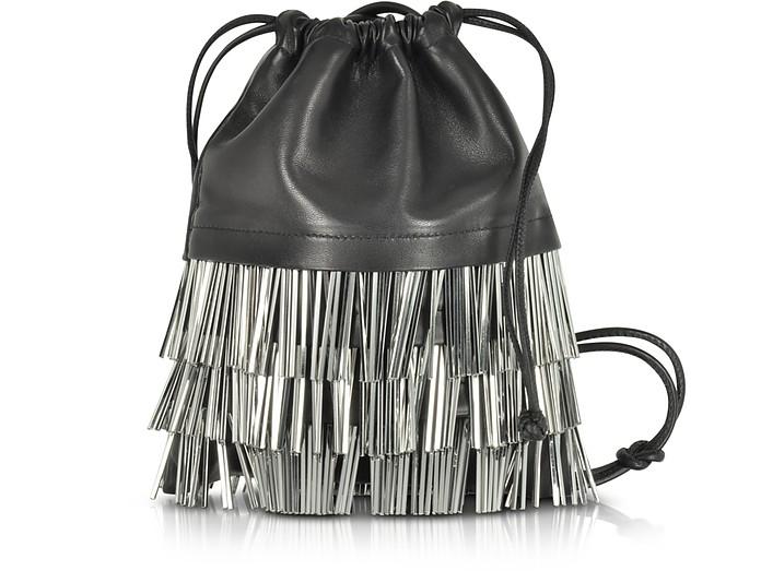 Ryan Mini Black Smooth Leather Dust Bag w/Bugle Beads - Alexander Wang