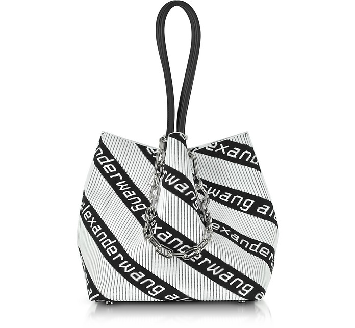 Kint Jacquard Logo Soft Striped Canvas Small Tote Bag - Alexander Wang