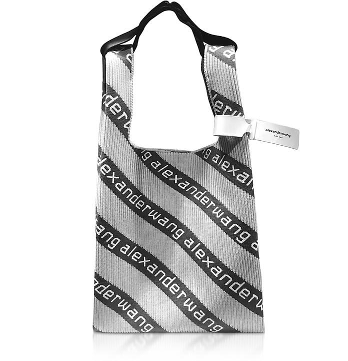 Knit Logo Shopper Medium in Canvas a Righe - Alexander Wang